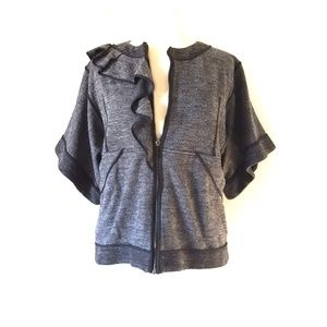 Valentino Cardigan Front Zip Short Sleeve Jacket